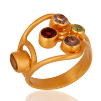 Multi-Color Gemstone 18k Yellow Gold Plated Sterling Silver Designer Ring