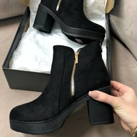 Block Party Black Suede Platform Zipper Bootie