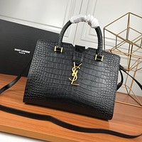 YSL SAINT LAURENT WOMEN'S CROCODILE LEATHER HANDBAG INCLINED SHOULDER BAG