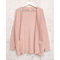 Open Fuzzy Cardigan with Pockets in Dusty Pink