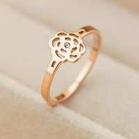 Womens Rose Gold Hollow Out Diamond Ring Gift-123