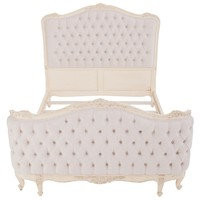Old World Cream Tufted Bed - vintage-inspired, Louis XVI-style bed