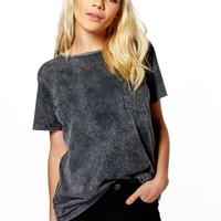 Daisy Oversized Acid Wash Pocket Tee