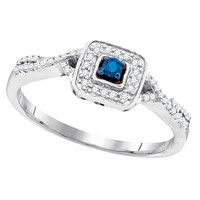 Blue Diamond Fashion Ring in White Gold-plated silver 0.16 ctw