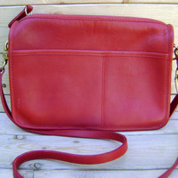 Red Coach Cross Body Purse Vintage 80s Leather Womens Handbag Made In New York Satchel Classic Designer Bag