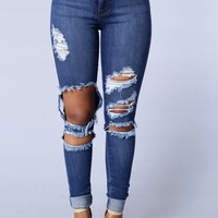 Cute Beach Bum Jeans - Medium - Blue/Light Blue