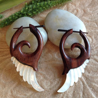 """Stick Post Earrings, """"Wildwood Wings"""" Natural, Mother Of Pearl and Sono Wood, Hand Carved, Tribal"""