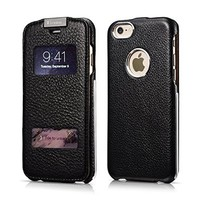 iPhone 6 Case, [Hero Series] [Litchi Pattern] Folio Case Flip Cover [Genuine Leather], Leather Case [View Window Design] with Magnetic Closure for iPhone 6 4.7 inch (Black)