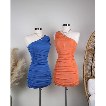 The Goddess Ruched One Shoulder Mini Dress in More Colors