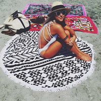 Printed Circular Beach Yoga Mat/Blanket/Towel/Shawl  ***Multiple Patterns