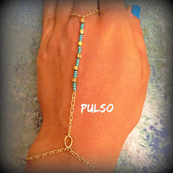 Turquoise and Gold Hand Chain, Gold, Turquoise, Slave Bracelet, Hand Bracelet, Bohemian bracelet, simple hand chain