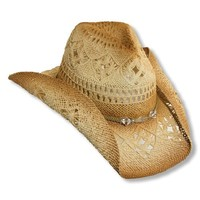 Western Cowgirl Hat with clear Beads by Dorfman Pacific, Neutral,One Size
