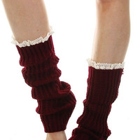 Lace Trim Leg Warmers - Burgundy, Charcoal, Navy or Black