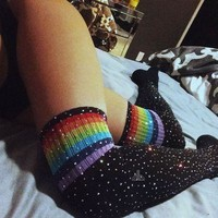 men stockings Bling Glitter Over Knee Long Fashion men Rhinestones Socks Sexy Thigh High Knee Socks Long Stockings Men's sexy