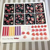 55 kiss cut and ready to peel off Girly Flower Layout Stickers! Perfect for your Erin Condren Life Planner, Filofax, Kikkik, Plum Paper