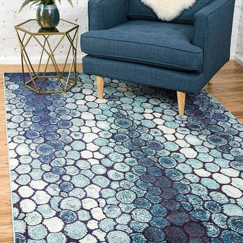 9995 Blue Abstract Contemporary Area Rugs