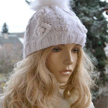Knitted white cap hat - FUR POMPOM Women's Hat Winter Women Hat Slouchy Beanie Slouchy Hat Winter Beanie Knit Hats Women Slouchy Beanie