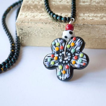 Funky Flower Necklace, Colorful Necklace, Lampwork Glass Bead Necklace, Unique Artisan Necklace,  Whimsical Polka Dot Necklace