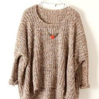 Light Brown Batwing Loose Sweater S182