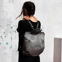 Gray leather backpack bag/leather bag/tote bag/handmade/gift/women bag