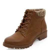 Wide Fit Tan Cuffed Lace Up Ankle Boots