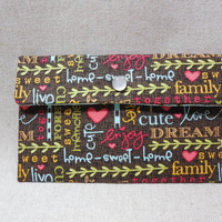 Charming Words and Birds Fabric Pouch