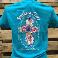 Southern Chics Southern Grace Collection Flower Cross Girlie Bright T Shirt
