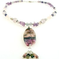 Druzy Gemstone Necklace Pastel Crackle Beaded Agate and Fluorite Pendant with Tourmaline Dangles