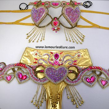 Queen of Hearts Cupid Samba Cage Bra Belt Crown and High Waisted Bottom