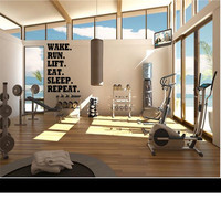 Wake. Run. Eat. Lift. Sleep. Repeat. - Wall Decal -Workout Decal - Gym Decal - Fitness Decal