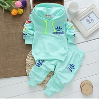 Big sale Vestidos 2016 New Spring Autumn Children Hooded Outwear+Pants 2pc Sport Suits Baby Boys Girls Clothing Sets Unisex