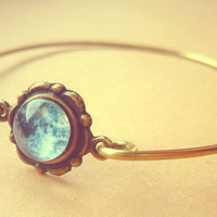 Vintage Antique Brass Romantic Full Moon Bracelet - Free Shipping - Made to order :)