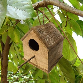 """10"""" Hut Shape Mango Wood Engraved Hanging Bird House, Brown By The Urban Port"""