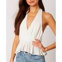 cotton candy la - vneck halter top - white