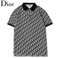 Dior New fashion more letter print lapel couple top t-shirt Black
