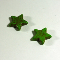 2 star beads in Green Howlite Star Beads: Dyed Howlite Chunky Beads, 1 inch beads, 25mm - Large Gemstone Star Beads