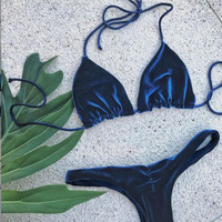 Blue Velvet Swimwear Bikinis Set