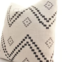 Peter Dunham Textiles Taj Pillow Cover, Onyx, Ash, Linen, Black, Natural, Gray, Linen, SKU8522, Geometric, Pattern, Lumbar