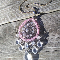Pink Dream Catcher necklace - Pink Girly Dream Catcher Jewelry - Wiccan Jewelry Pagan Necklace Gypsy Pendant - Beautiful Valentines Day Gift