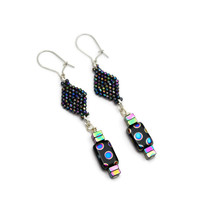 Geometric Dangle, Multi Color Dot Drop Earrings