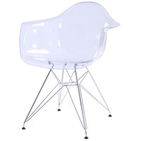 Carl Molded PC Arm Chair Chrome Wire Legs, Transparent Clear Crystal (Set of 2)