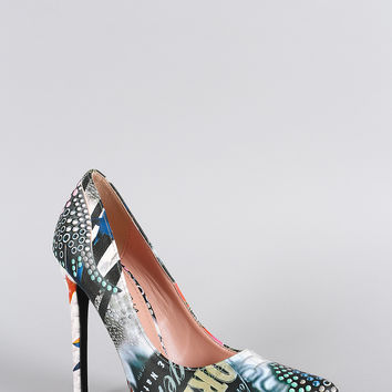 Shoe Republic LA Mix Print Pointy Toe Stiletto Pump