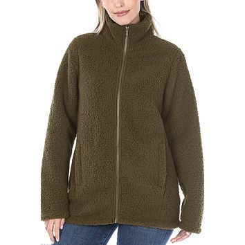 Soft Sherpa High Neck Full Zip Up Jacket with Pockets