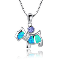 Sterling Silver Puppy Dog W Blue Green Fire Opal and Purple CZ Pendant Necklace