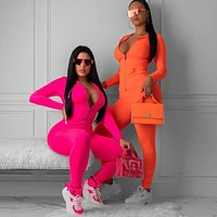 Fluorescent color long-sleeved top yoga sports fitness suit Rose red or Orange