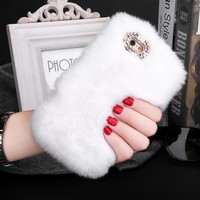 7 Luxury Rabbit Fur Hair Phone Cases For iPhone 7 6 6s Plus SE 5 5s Case Fashion Bling Diamond bowknot Soft Plush PC Cover Funda