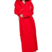 Soft Touch Linen 100% Pure Turkish Cotton Hooded, Terry Velour Bathrobe for Woman and Men, Red