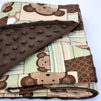 Brown monkey minky baby boy blanket, Quilted toddler blanket, travel blanket, baby blanket