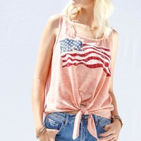 American Flag Print Top W/ Knot