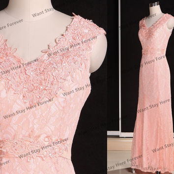 Pink embroidery long bridesmaid dresses,long evening dresses,long party dress,long formal dresses,prom dresses,evening dress,mother of brida